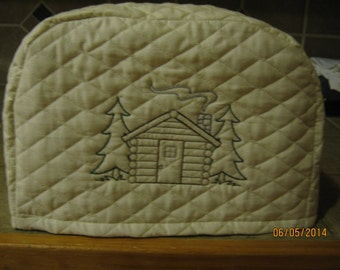 2 or 4 slice small appliance toaster cover with Log Cabin & Tree's Design