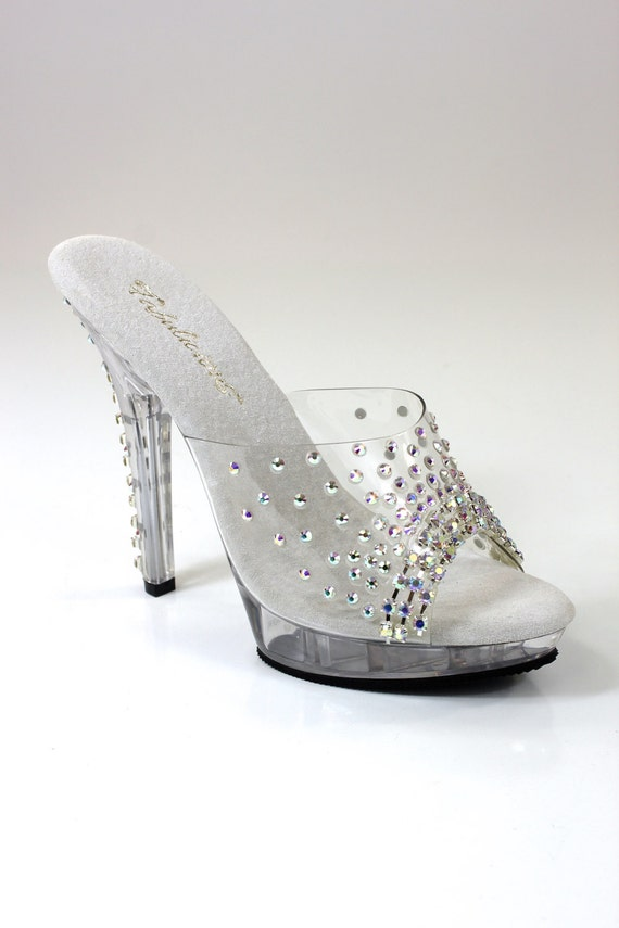 Calzature con cristallo chiaro giorno Sandal ombelico Ypr8cpSN
