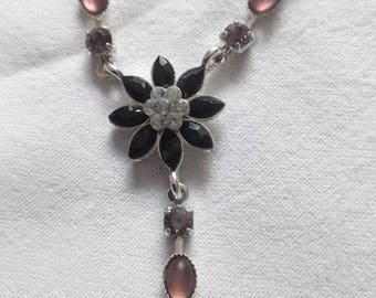 VINTAGE  necklace silver plated , glass crystals , black eyes style 1980