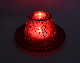 Mosaic Candle Holder Red Glass Tile Hand Crafted Vintage