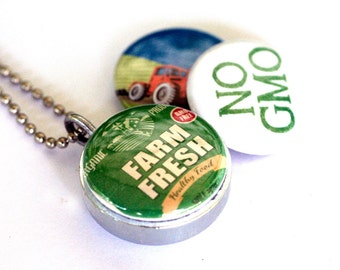 NO GMO Locket Necklace - Organic Farming Jewelry, Farmer Gift Jewelry, No Monsanto, Recycled Steel, Magnetic Locket SET, 3 in 1 by Polarity