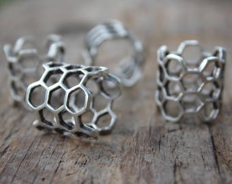 Silver Honeycomb Adjustable Ring