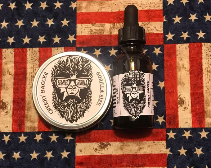 Cherry Baccer All Natural Moisturizer Beard Balm & Oil Set, Bearded Man Gift, Father's Day Gift, Mens Beard Products-GORILLA SIZE