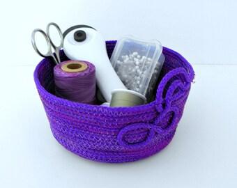 Handmade Purple Braided Poly Cord Bowl - Coiled Basket - Braided Rope Basket - Nursery Decor - Organize and Storage Bowl- Catch All Basket
