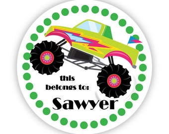 Name Tag Stickers - Green Polka Dots, Cute Lime Monster Truck Personalized Name Label Stickers - Round Tags - Back to School Name Labels