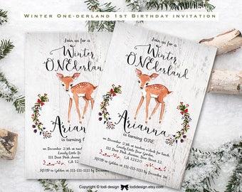 Winter Birthday Invitation. Christmas Birthday Invitation. Winter Onederland. Baby's 1st birthday,First Birthday Party Invitation