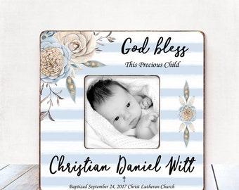Baptism Gift for BOY Baptism Gift for Godson Baptism gift from Godmother Christening Gift BOY Personalized Picture Frame Baptism gift Boy