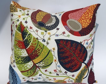 Pillow cover white bright sky blue moss olive green grey red yellow leaves Decorative pillow for Throw pillows Floor Cushions Accent Pillows
