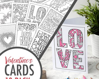 Valentine's Day Coloring Cards – Set of 10 Printable Greeting Cards for a Valentine's Day Gift | Printable cards | Valentine cards PDF pack
