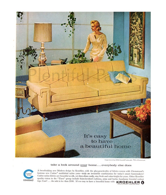 Furniture Store Ads: 1962 Kroehler Furniture Vintage Ad 1960's Living Room