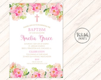 baptism invitation girls christening invitation pink baptism