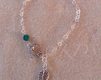 LACY LEAF Charm Bracelet STERLING silver with bead-pop of colour-skinny stacking bracelet-giftables-gift under 40