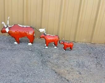 Recycled  Texas Longhorn Metal Art - metal longhorn -