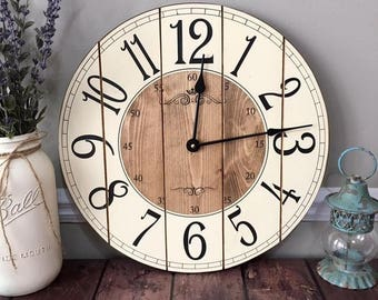 16 Inch Farmhouse Clock - Small Rustic Wall Clock - Unique Wall Clock - Personalized Clock - Distressed Clock - Wooden Clock - Arabic Number