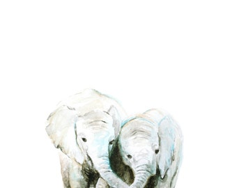 Elephants No 1 Art Print - Baby Animal Art - Baby Elephant Painting - Safari Animal - Baby Room Wall Art - Nursery Décor - Baby Shower Gift
