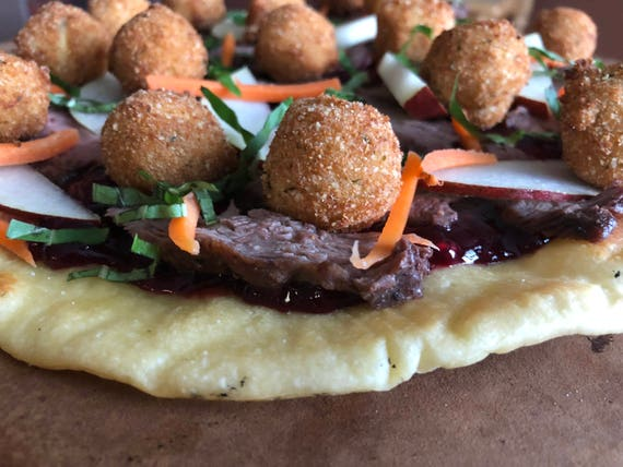 Flatbread with fried goat cheese balls steak pears carrots flatbread with fried goat cheese balls steak pears carrots basil and blackberry port wine sauce recipe pdf forumfinder Image collections