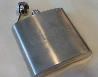 Vintage Flask ~ 1980s Wiser's Canadian Whiskey 6 Oz ~ Stainless Steel ~ Liquor Hip Flask ~ Jacket Pocket Flask