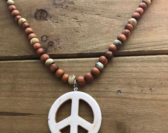 Wood Beads and Peace Sign Necklace