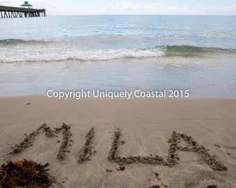 Name in Sand, Baby Girl Gift, Personalized Artwork, Beach, Nursery Decor - Mila