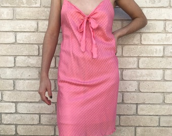 Vintage 90's Candy Cane Hot Pink Coral Nightie Nightgown with Matching Center Bow