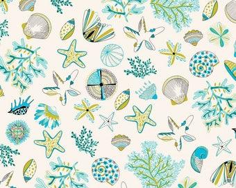 fabric, 170cm L, shells, stars, starfish, coral, beach, Thévenon