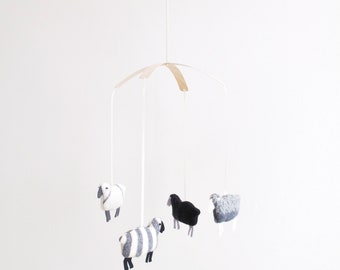 Patterned Wool Sheep Mobile in Greys