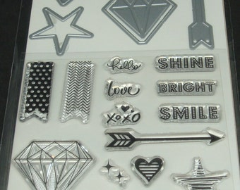 Art C Stamp and Cut- Clear Stamps and Dies *Diamond* 20 pieces