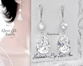 Swarovski crystal teardrop wedding earrings Sterling wires Brides Bridesmaids Bridal Wedding jewelry Crystal earrings SOPHIA
