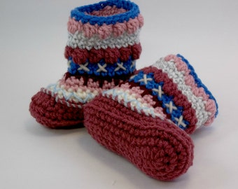 Crochet Baby Booties 9 - 12 Months  Mukluk Alaskan Baby Booties Multicolored OOAK
