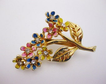 Vintage Pink Blue and Yellow Enamel Floral Brooch Pin | Ladies Drop Earrings | Lucite Drop Earrings | Vintage Jewellery | Gift for Her