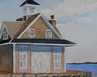 boathouse watercolor-jersey shore painting-mallard island yacht club watercolor-beach shore wedding-shore decor-beach decor