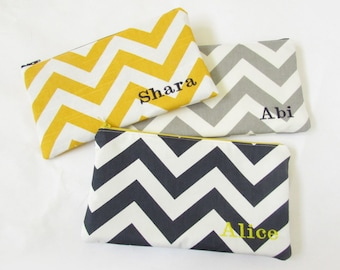 Large Makeup Bag - Set of 3 - Monogrammed Cosmetic Bag - Chevron Bag - Bridesmaid Bags - Personalized Clutch - Large