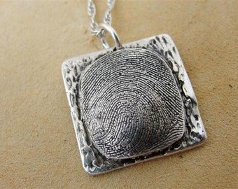 Custom Fingerprint Necklace Jewelry Thumbprint in Sterling Silver Personalized