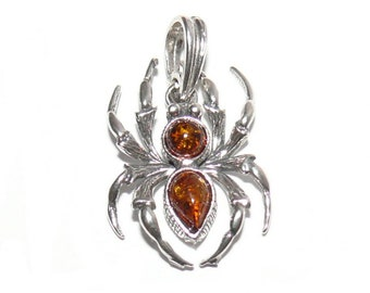Amber spider pendant-silver spider pendant-216