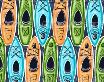 Kayak digital paper, lake digital background, kayak scrapbook digital paper, lake house decor, lake art, kayak art, kayak artwork