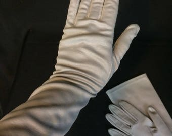 Vintage Gloves Elbow Length Soft Gray with Texture Pair of Ladies Gloves