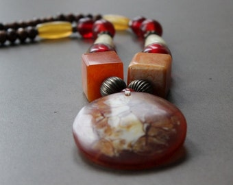 Bohemian Vintage chunky beaded necklace amber coral wood tribal
