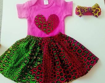 Ankara Baby girl bodysuit  , skirt, headband.