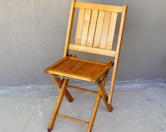 Vintage Wood Folding Chair / Sturdy / Nice Condition / Urban Living / Easy  Use /