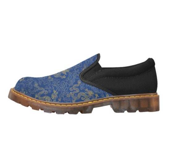 Blue and Gold Dragon Loafer Ladies