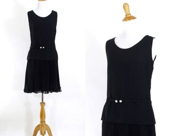 Vintage 1960s Dress | 60s Little Black Dress with Pleated Chiffon and Dropped Waist | Medium M
