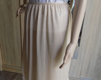 Vintage 1990s Italian Beige HALF SLIP Lace Hem Farfalla Intima Moda Sheer Nylon Underwear Petticoat  Size UK14 Made in Italy