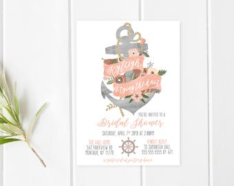 Bridal Shower Invitation, Bridal Shower Invitation Nautical, Bridal Shower Invitation Printable, Rose Gold, Watercolor, Anchor, Bride [723]