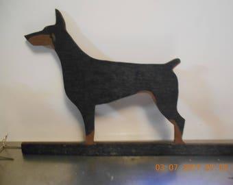 Homemade, Hand Painted Wood Doberman ~ 1980's