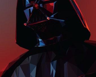 Darth Vader Star Wars Low Poly Fan Art Poster 11x17