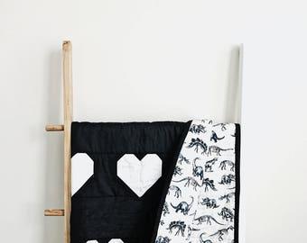 Dinosaur Quilt - Modern Quilt - Heart Quilt  - Minimalist Quilt - Made to Order - Gender Neutral - Black and White Quilt