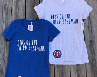 KRIS BRYANT BASEBaLL Chicago Cubs Women's Kris Bryant Racerback Tank, Crew, or V-neck-Dibs on the THIRd Baseman-MLB-with logo