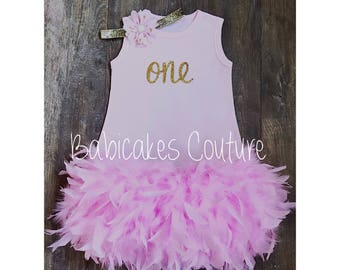 Pink Feather Dress, 1st Birthday Girl Feather Dress, Cake Smash Outfit, Feather Birthday Dress, Pink & Gold Feather Dress Feather Tutu Dress