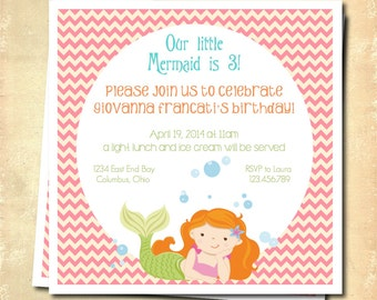 Mermaid party invitation, mermaid birthday party, mermaid party printable, little mermaid invitation, under the sea pool party, custom color