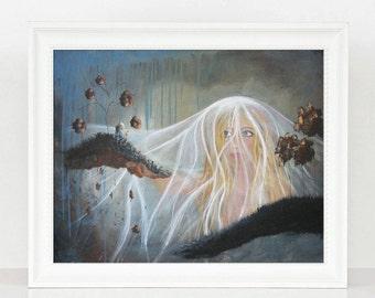 Lonely But Not Alone - Surrealism Art Prints - Original Art - Prints - Guardian Angel - LIMITED EDITION - 8x10 - Fantasy Artists